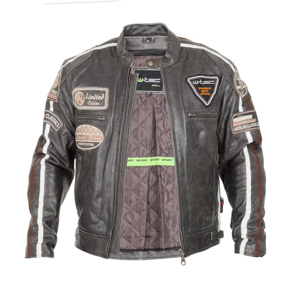 6d2e7f82d6b85 Męska skórzana kurtka motocyklowa W-TEC Buffalo Cracker - Brązowo-szary.  Stylowa ...