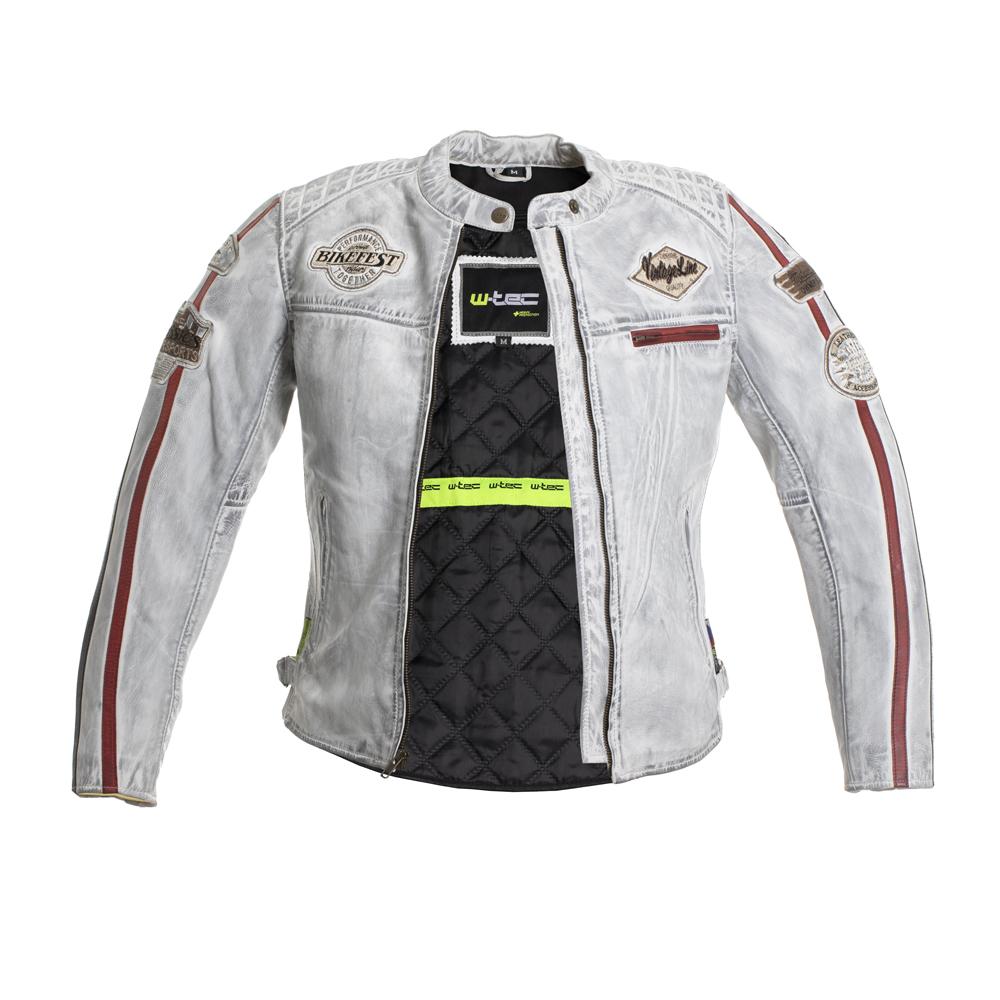 Damska skórzana kurtka motocyklowa W TEC Sheawen Lady White + Prezent za 1 zł: Plecak sportowy worek inSPORTline Bolsier