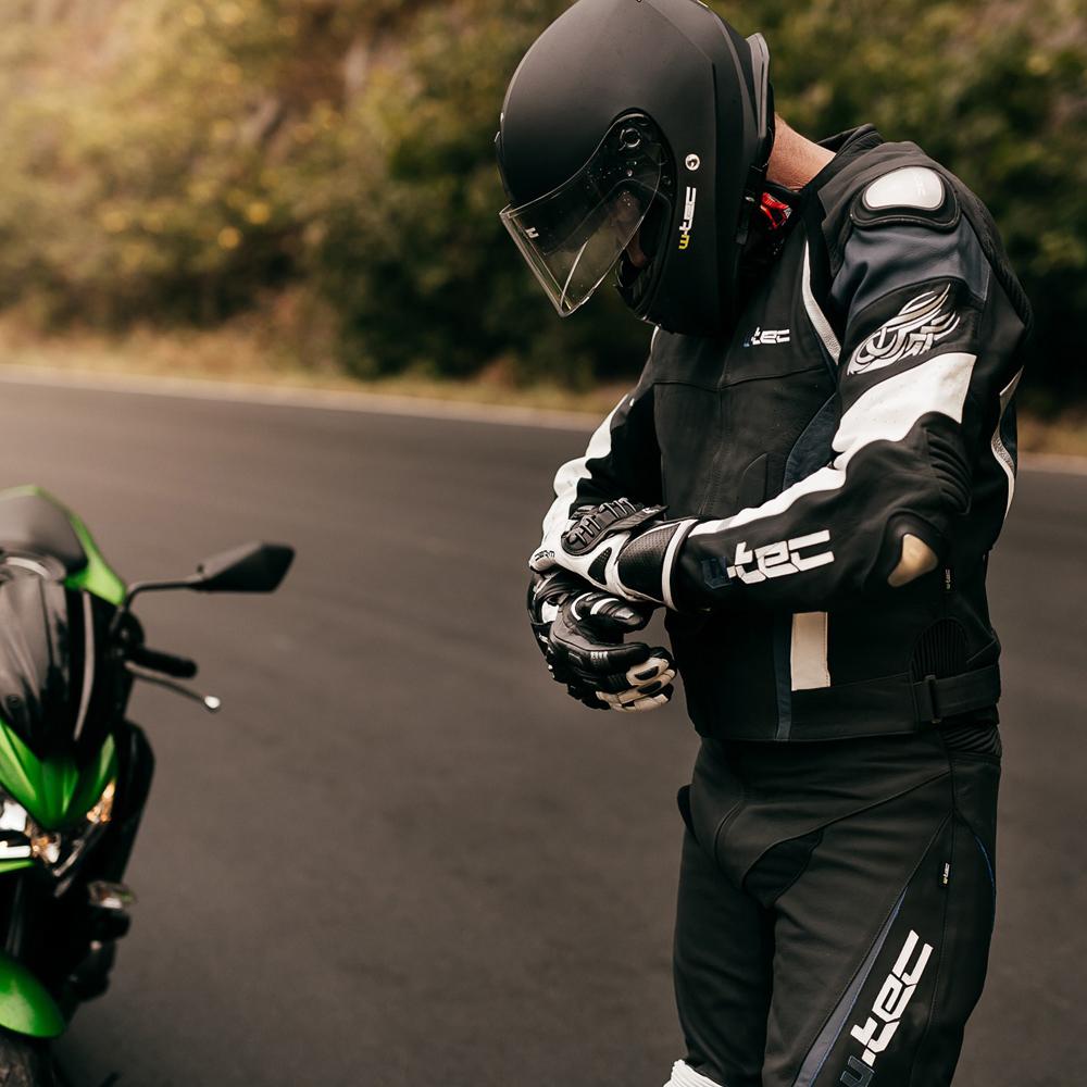 903002ffc5519 Męska skórzana kurtka motocyklowa W-TEC Velocity - Czarny-fluo. Kurtka  skórzana ...