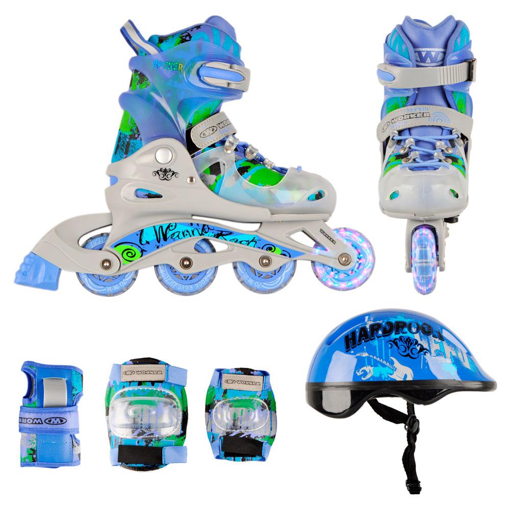 1dfdb37d0e64c0 Zestaw dziecięcy: regulowane wrotki, kask, ochraniacze, torba Action ...