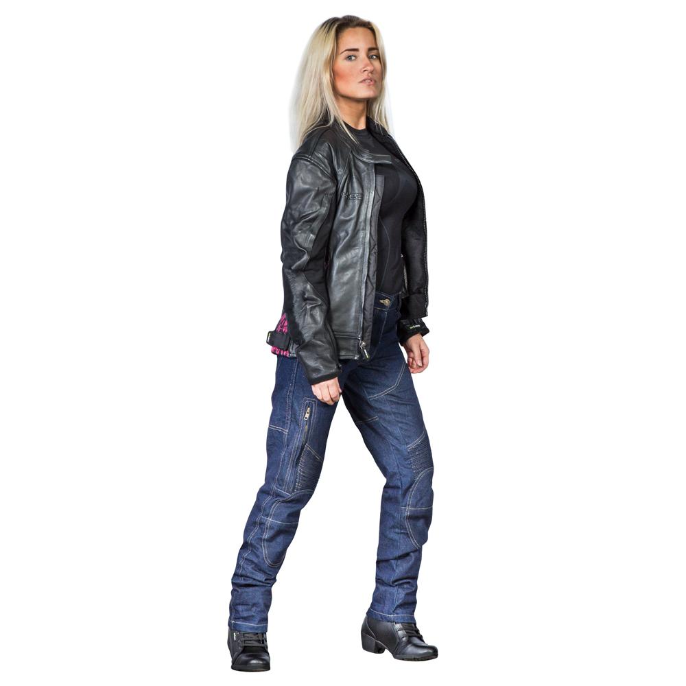 02ad40e20bf00 Damska skórzana kurtka motocyklowa W-TEC Caronina NF-1174 - Czarno-różowy.  Wysokiej ...