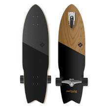 Longboard Street Surfing Shark Attack Koa Black 36""