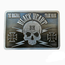 Klamra do paska BLACK HEART Bastard Skull Buckle - Srebrny