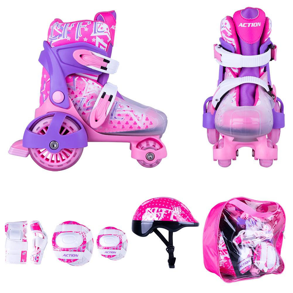 Zestaw dziecięcy: regulowane wrotki, kask, ochraniacze, torba Action Darly Girl