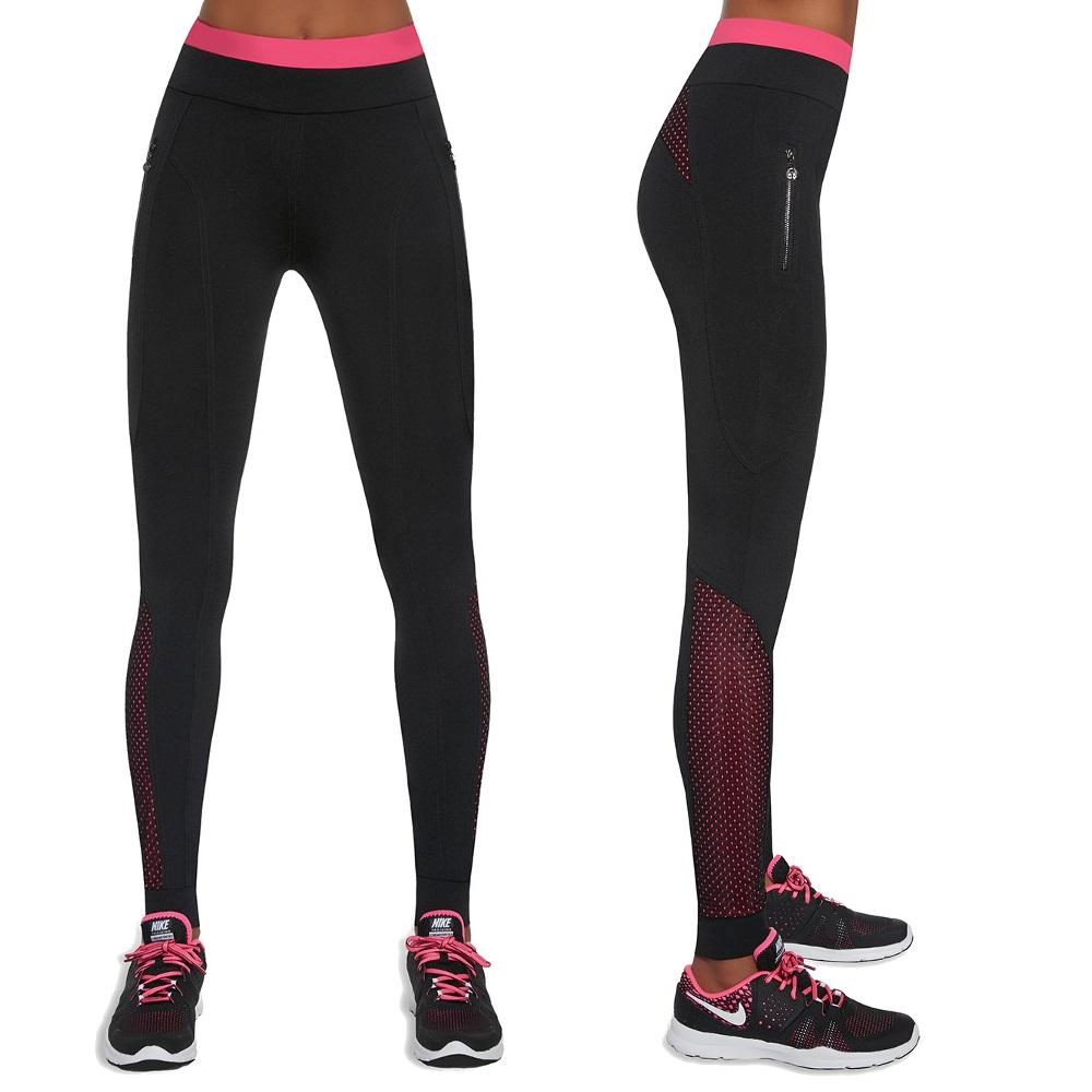 c45b3fa649b487 Damskie sportowe legginsy BAS BLACK Inspire - Czarno-różowy