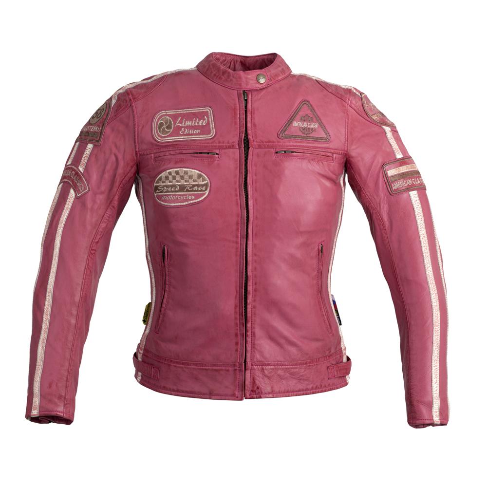 Damska skórzana kurtka motocyklowa W TEC Sheawen Lady Pink + Prezent za 1 zł: Plecak sportowy worek inSPORTline Bolsier